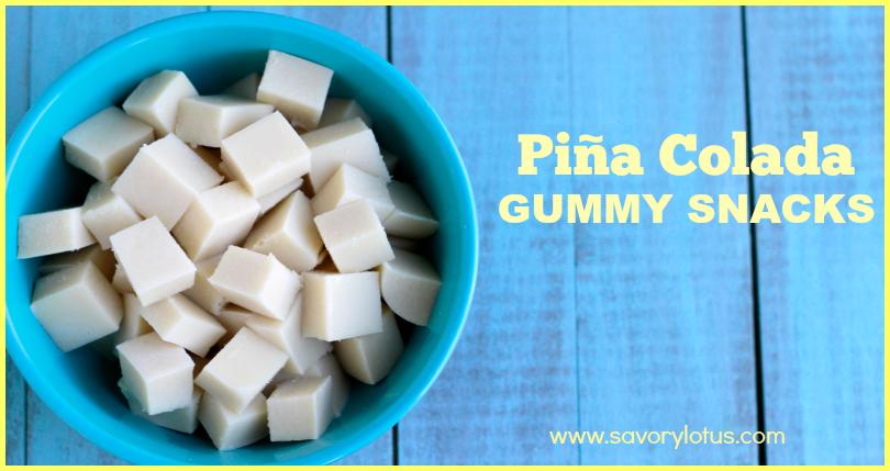 gelatin, gummy snacks, paleo, pina colada