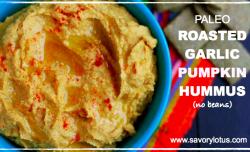 Paleo Roasted Garlic Pumpkin Hummus (no beans) : savorylotus.com