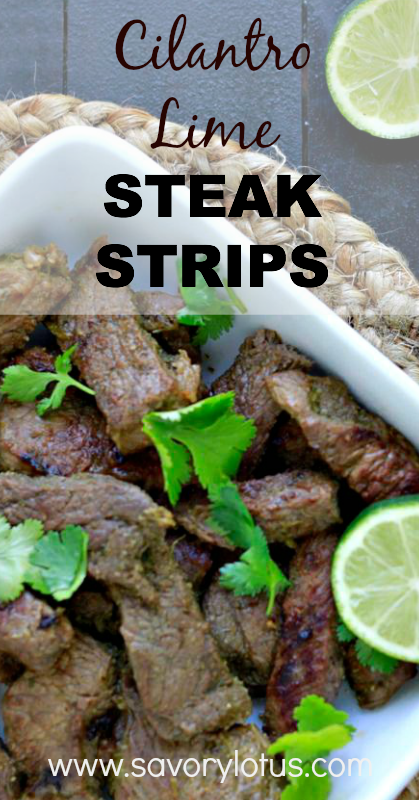 Cilantro Lime Steak Strips - savorylotus.com