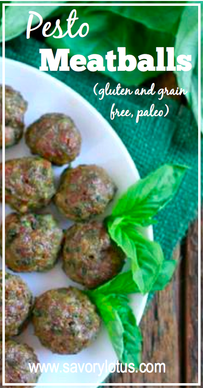 Pesto Meatballs (gluten and grain free, paleo) - savorylotus.com