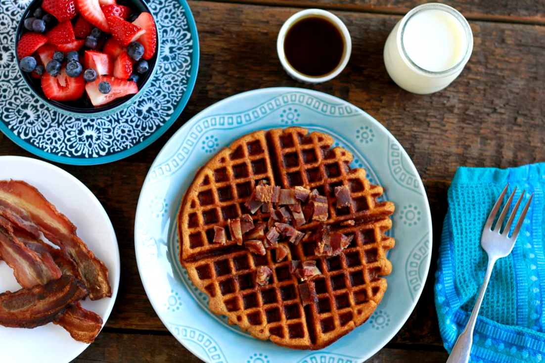 Sweet Potato Bacon Waffles (gluten and grain free, paleo) ~~~ savorylotus