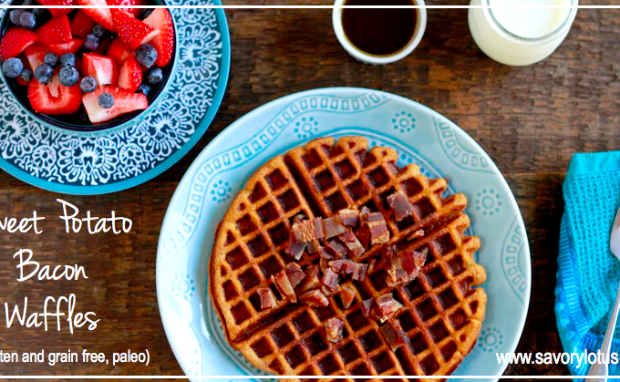Sweet Potato Bacon Waffles (gluten and grain free, paleo)