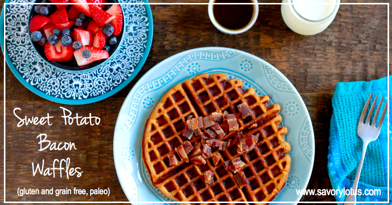 Sweet Potato Bacon Waffles (gluten and grain free, paleo) | savorylotus.com