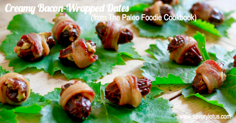 Creamy Bacon-Wrapped Dates (dairy free/paleo) | savorylotus.com