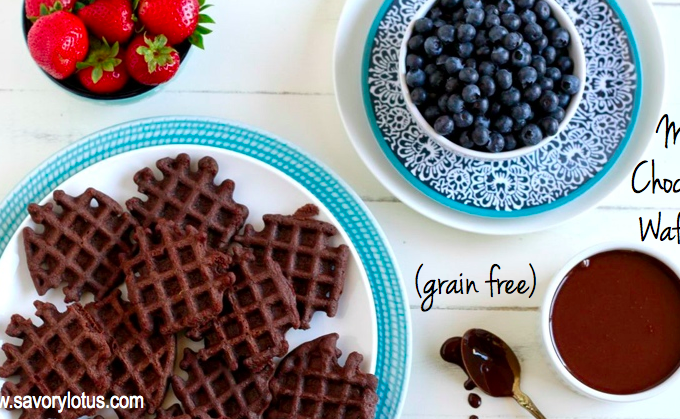 Mini Chocolate Waffles (grain free)