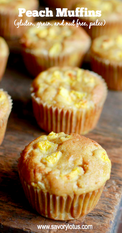 Peach Muffins (gluten, grain, and nut free, paleo) - savorylotus.com