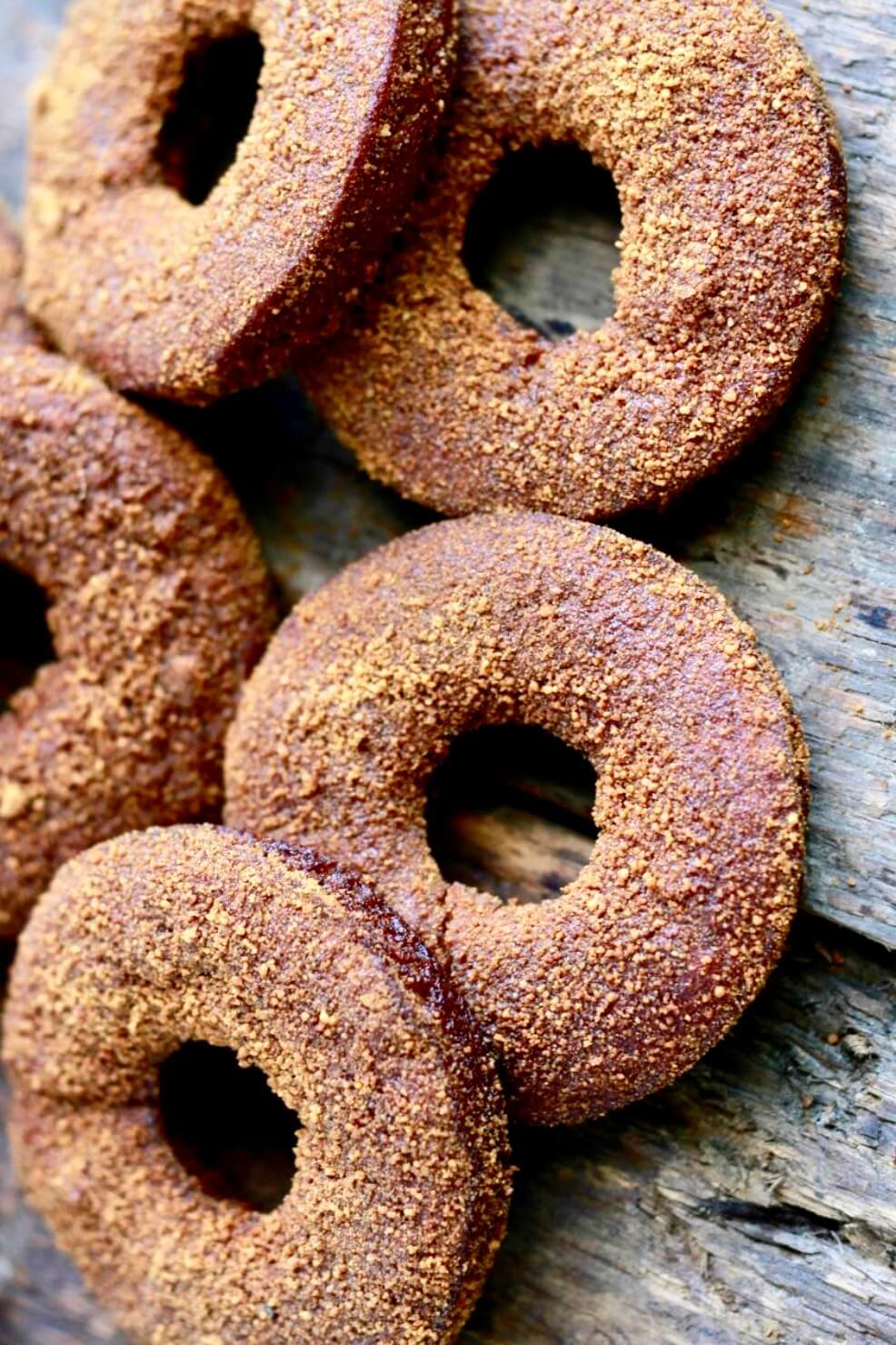 close up of sugary pumpkin donuts