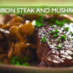 steak, mushrooms, cast iron, paleo