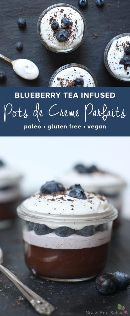 Blueberry Tea Infused Pots de Creme Parfaits - www.savorylotus.com