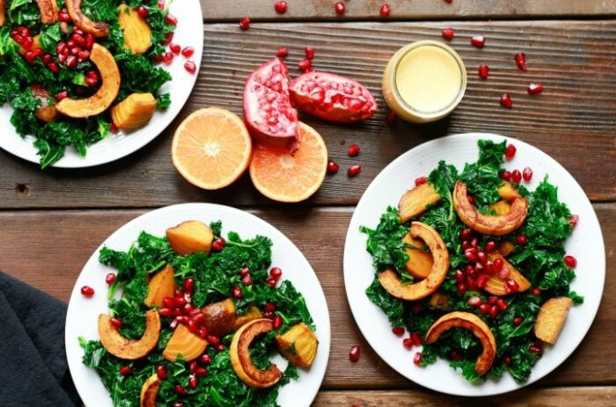 Wilted Kale Salad with Golden Beets and Winter Squash | www.savorylotus.com