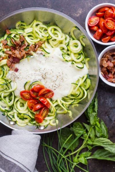 Cream Bacon Zoodles (dairy free)  from www.savorylotus.com