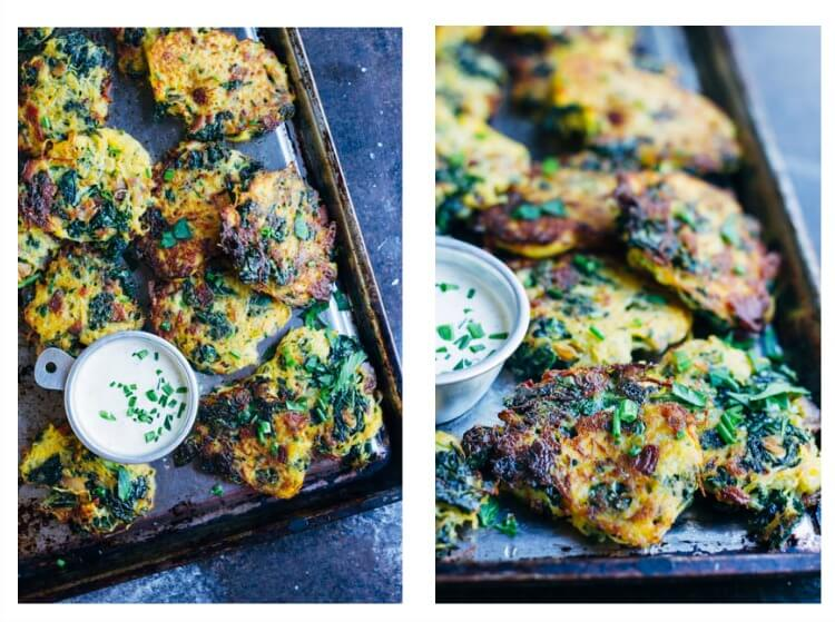 Bacon and Kale Spaghetti Squash Fritters (gluten free) - www.savorylotus.com