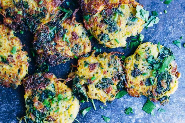 Bacon and Kale Spaghetti Squash Fritters (gluten free) ~~ www.savorylotus.com