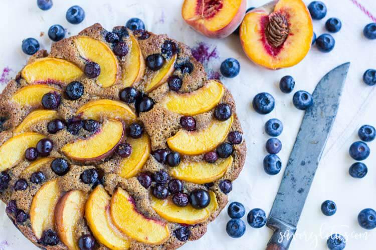 Rustic Blueberry Peach Cake (gluten free) | www.savorylotus.com