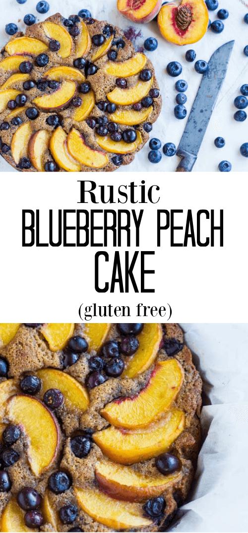 Rustic Blueberry Peach Cake (gluten free) - www.savorylotus.com