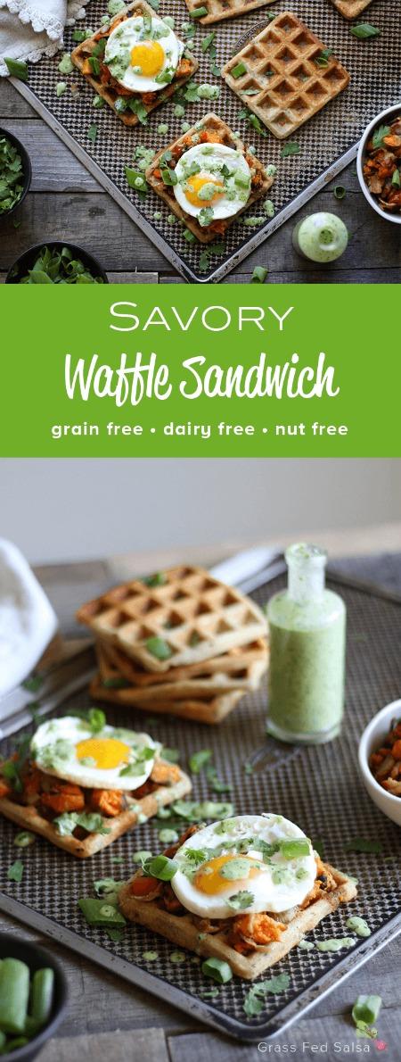 Savory Waffle Sandwich (grain free, nut free, dairy free) - www.savorylotus.com