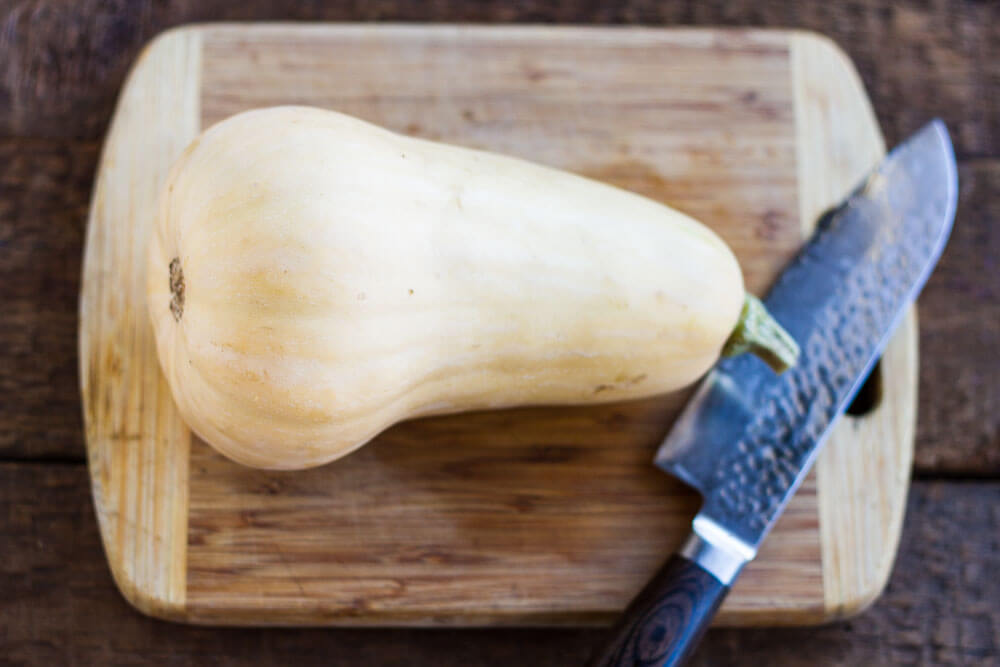 butternut squash on a cutting board