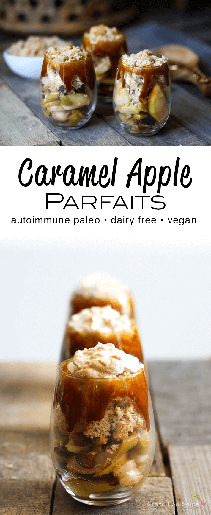 Caramel Apple Parfaits lined up on wooden table