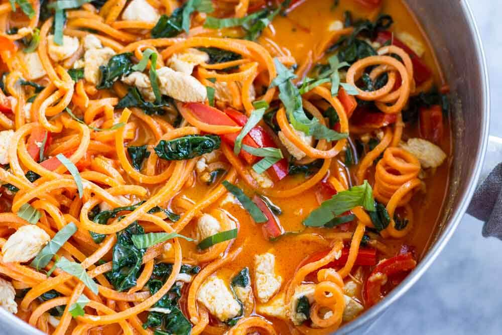 Thai Red Curry with Sweet Potato Noodles \ www.savorylotus.com