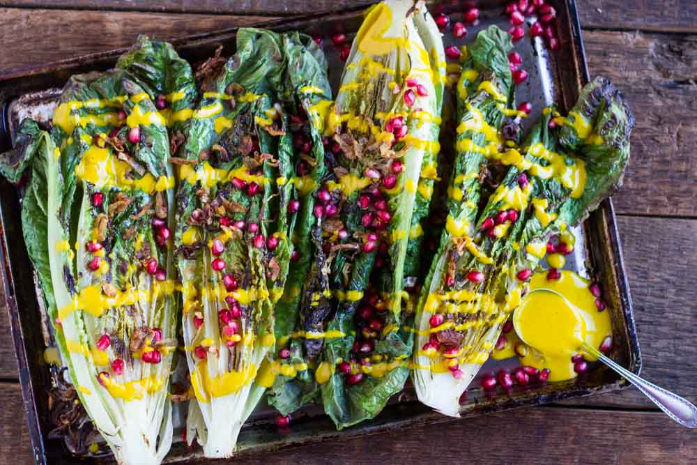 Grilled Romaine Salad with Creamy Turmeric Dressing (dairy free) / www.savorylotus.com