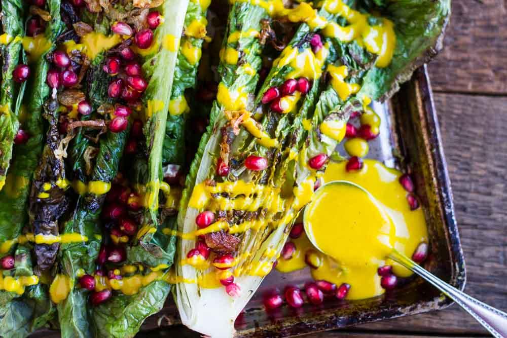 Grilled Romaine Salad with Creamy Turmeric Dressing (dairy free) -- www.savorylotus.com
