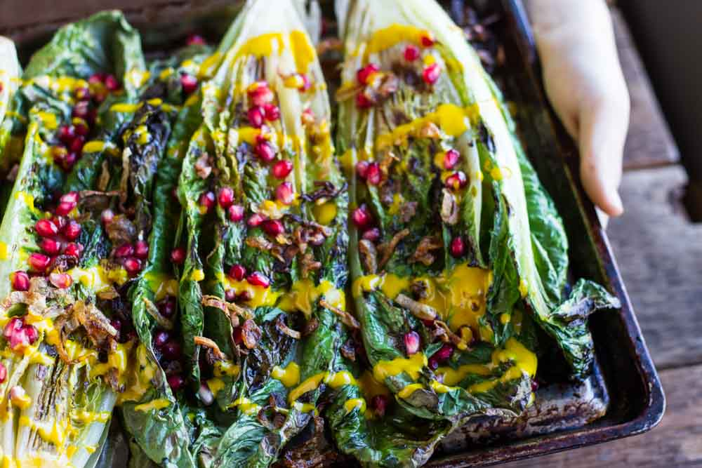 Grilled Romaine Salad with Creamy Turmeric Dressing (dairy free) ~~ www.savorylotus.com