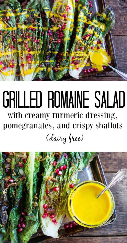 Grilled Romain Salad with Creamy Turmeric Dressing (dairy free) - www.savorylotus.com