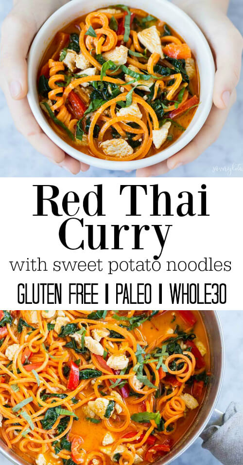 Thai Red Curry with Sweet Potato Noodles - www.savorylotus.com