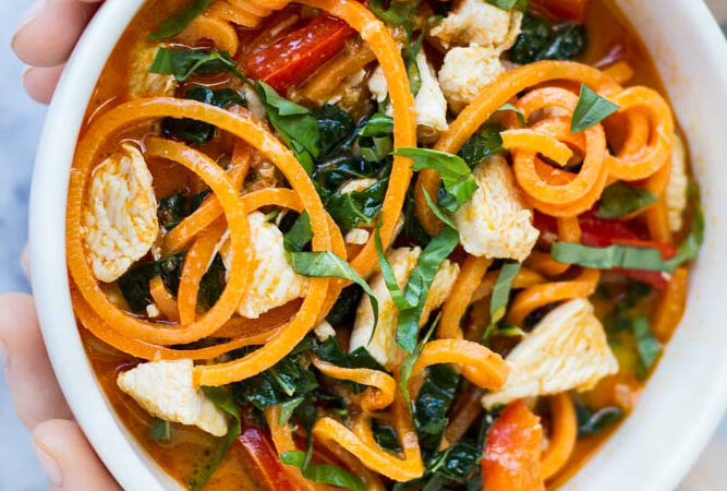 Thai Red Curry with Sweet Potato Noodles | www.savorylotus.com