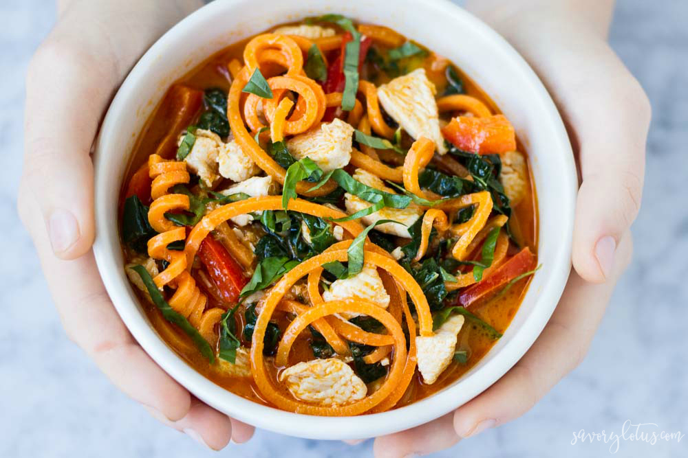 Thai Red Curry with Sweet Potato Noodles | www.savorylotus.com