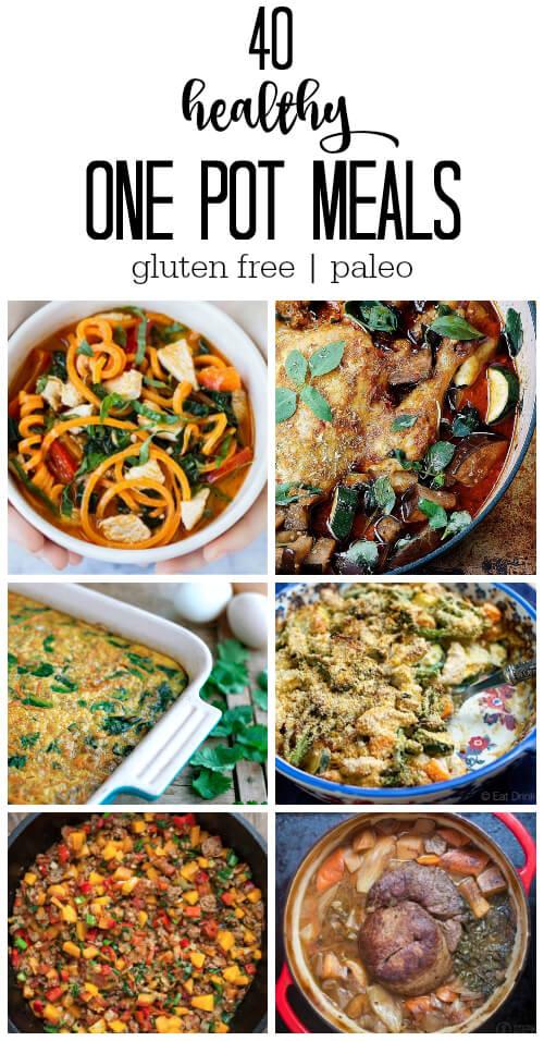 40 Healthy One Pot Meals (gluten free and paleo) - www.savorylotus.com