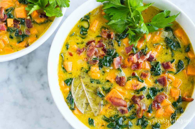 Creamy Sweet Potato Bacon Chowder (dairy free)