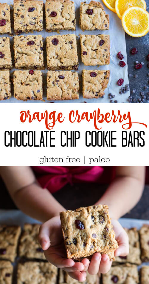 Orange Cranberry Chocolate Chip Cookie Bars (gluten free) - www.savorylotus.com