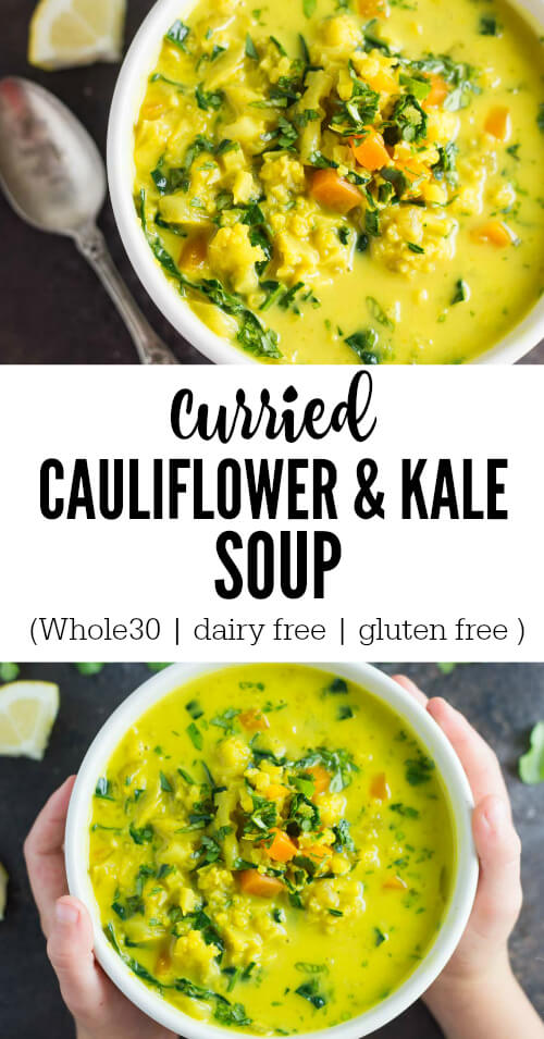 Curried Cauliflower and Kale Soup in white bowl with silver spoon