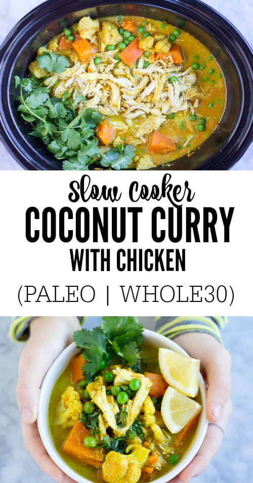Slow Cooker Coconut Curry with Chicken - www.savorylotus.com