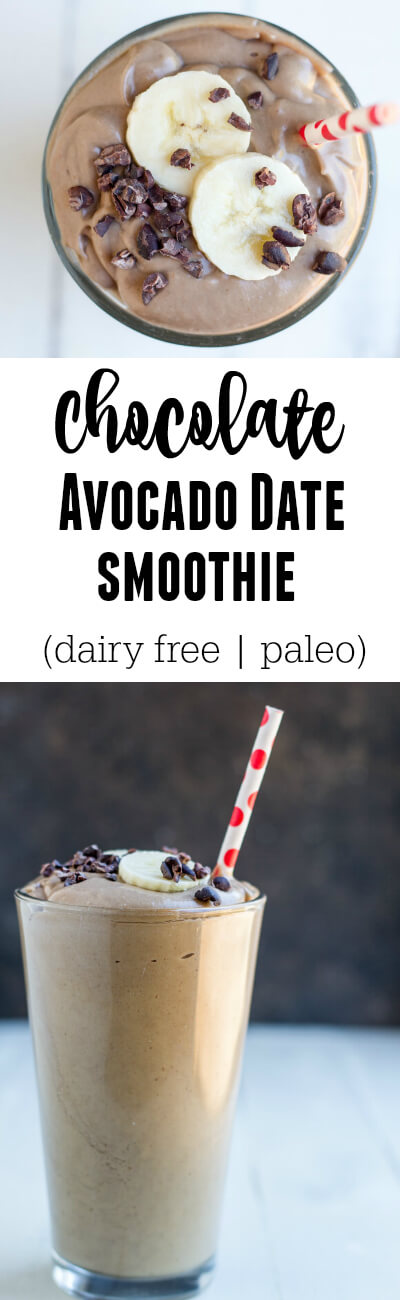 Chocolate Avocado Date Smoothie (dairy free and paleo) - www.savorylotus.com