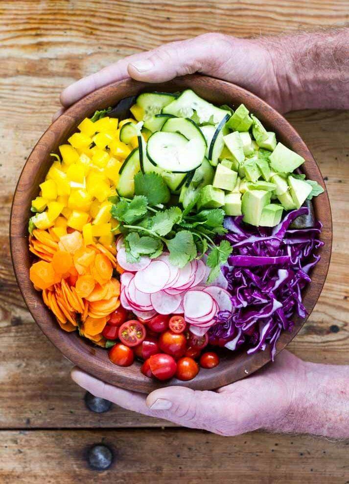 Rainbow Salad with Orange Vinaigrette ~ www.savorylotus.com
