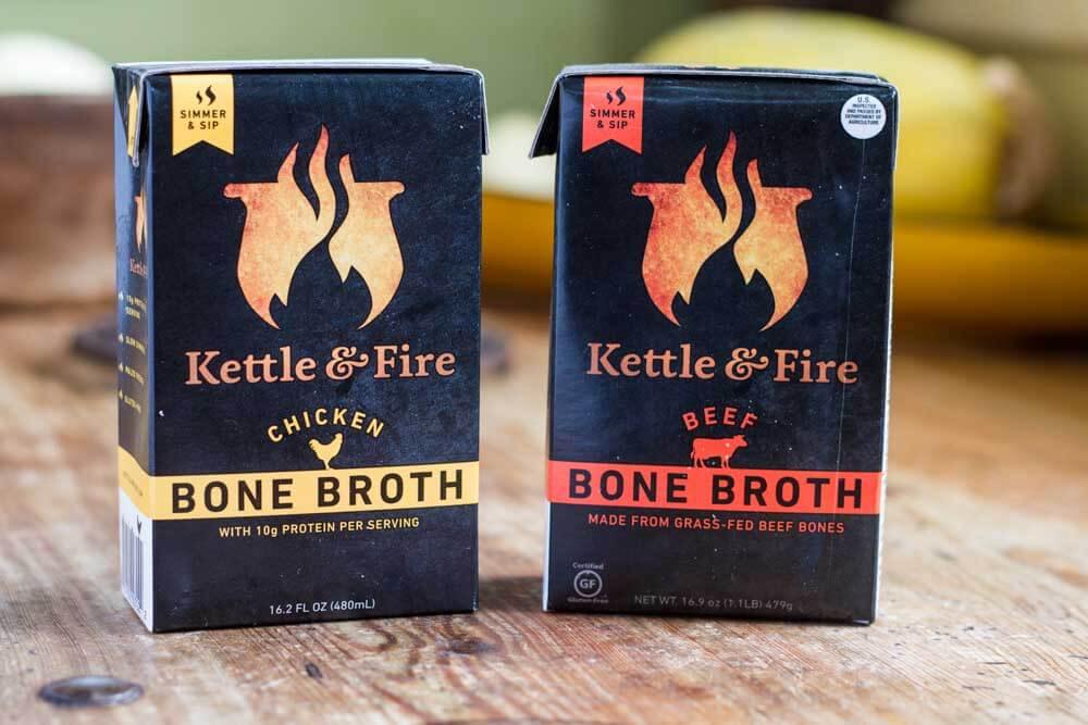 two boxes of kettle and fire bone broth