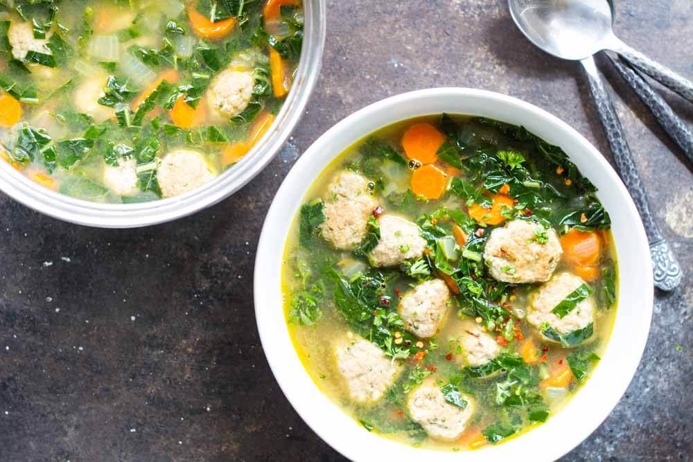 30 Minute Turkey Meatball and Kale Soup | (gluten free, dairy free) www.savorylotus.com