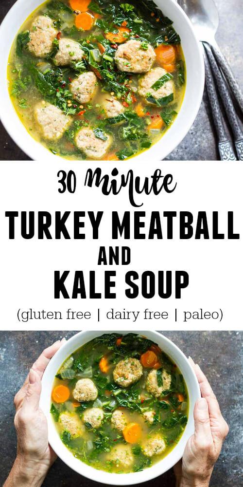 30 Minute Turkey Meatball and Kale Soup | (gluten free, dairy free) - www.savorylotus.com