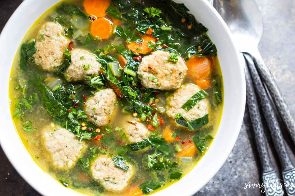 bowl of meatball soup in a white bowl