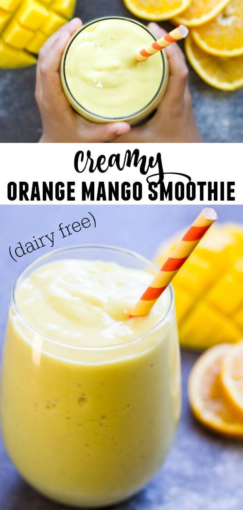 Creamy Mango Orange Smoothie (dairy free) | www.savorylotus.com
