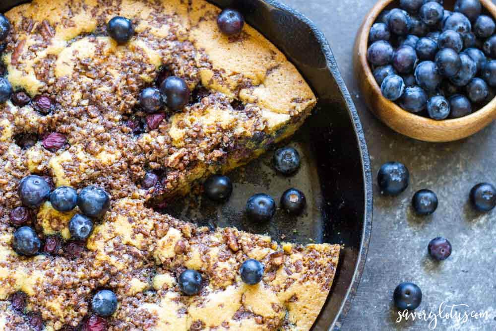 Skillet Blueberry Coffee Cake (gluten free, grain free, paleo) | www.savorylotus.com
