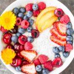 Summer Fruit Vanilla Bean Chia Pudding Bowl (dairy free) /// www.savorylotus.com