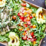 Pesto Chicken Avocado Salad | www.savorylotus.com