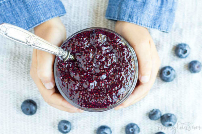 Easy 3 Ingredient Blueberry Chia Jam | www.savorylotus.com