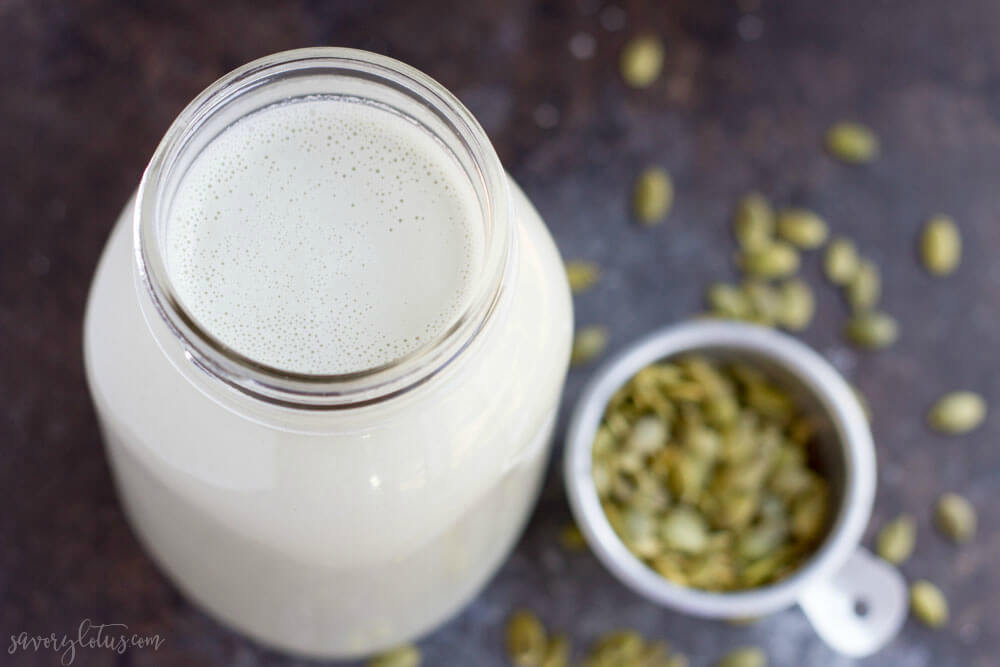 How to Make Pumpkin Seed Milk | www.savorylotus.com