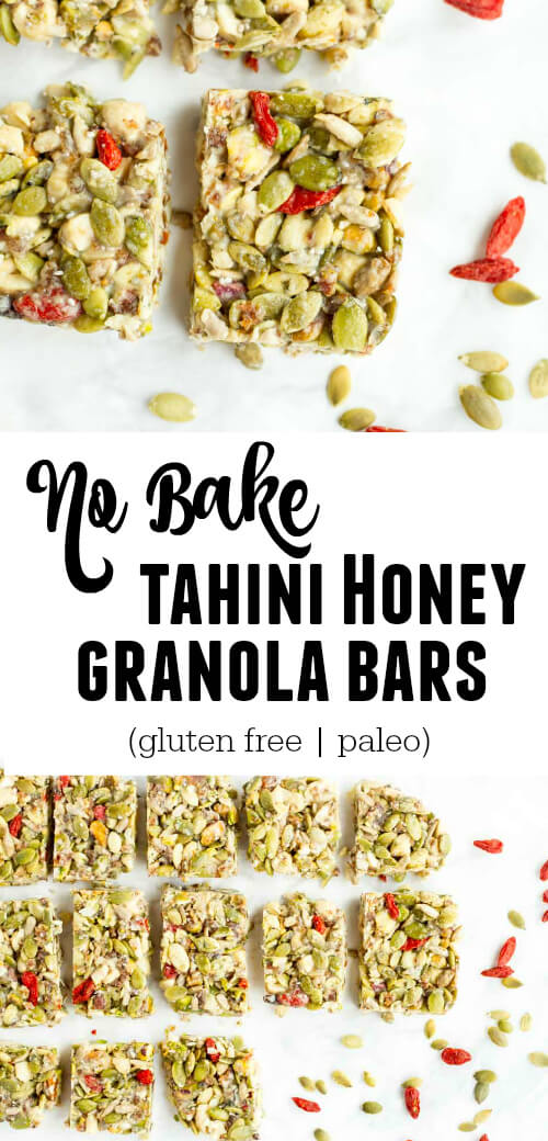 No Bake Tahini Honey Bars (gluten free and paleo) - www.savorylotus.com