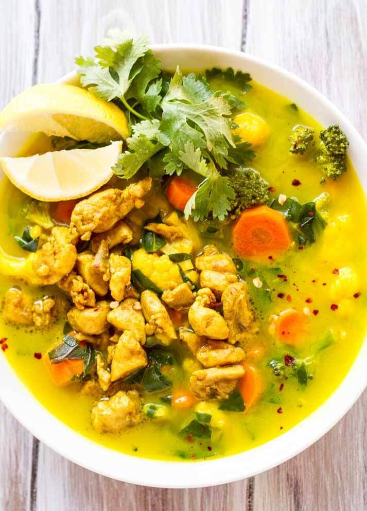 Turmeric Chicken Soup in white bowl