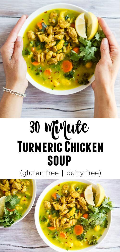 30 Minute Turmeric Chicken Soup - www.savorylotus.com